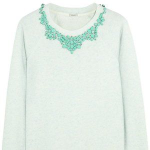 Crystal-embellished cotton-blend terry sweatshirt